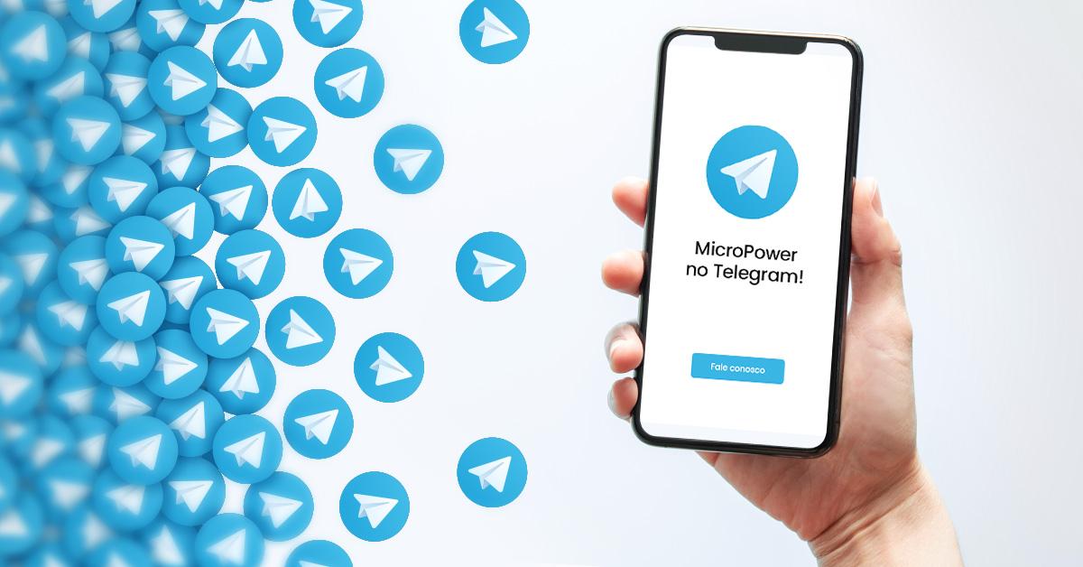 logo do telegram e a tela de um celular com a imagem